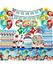 Cocomelon Birthday Party Supplies, Cocomelon Birthday Party Decorations, Decoration Birthday Favors, Themed Tableware, Banner, Balloons, Cake Toppers, Stickers, Birthday Party Favor Pack Set for Kids