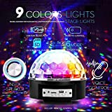 YouOKLight Sound Activated 9 Color LED Music Crystal Magic Ball MP3 Disco DJ Stage Lighting with Remote Control for Home Room Dance Party Birthday Gift Kids Club Wedding Decorations