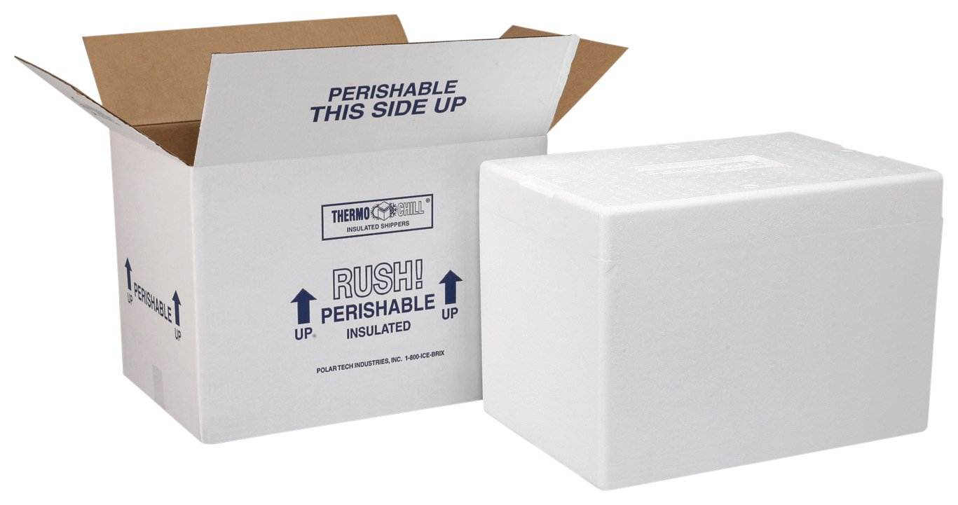 "Polar Tech 227C Thermo Chill Insulated Carton with Foam Shipper, Medium, 12"" Length x 10"" Width x 7"" Depth (Case of 2)"