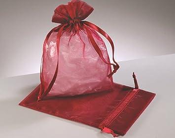 12 Grandes Burdeos Rojo Organza favor bolsas de regalo ...