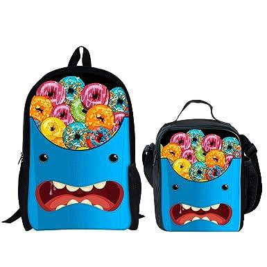 4ff119cf89fb HUGS IDEA Doughnut Emoji Printing School Backpack Set Kids Schoolbag with Lunch  Bag