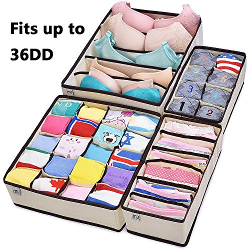 Bamboo Six Drawer Dresser (MIU COLOR Drawer Organizer, Closet Organizer Bra Underwear Drawer Divider 4 Set Beige)