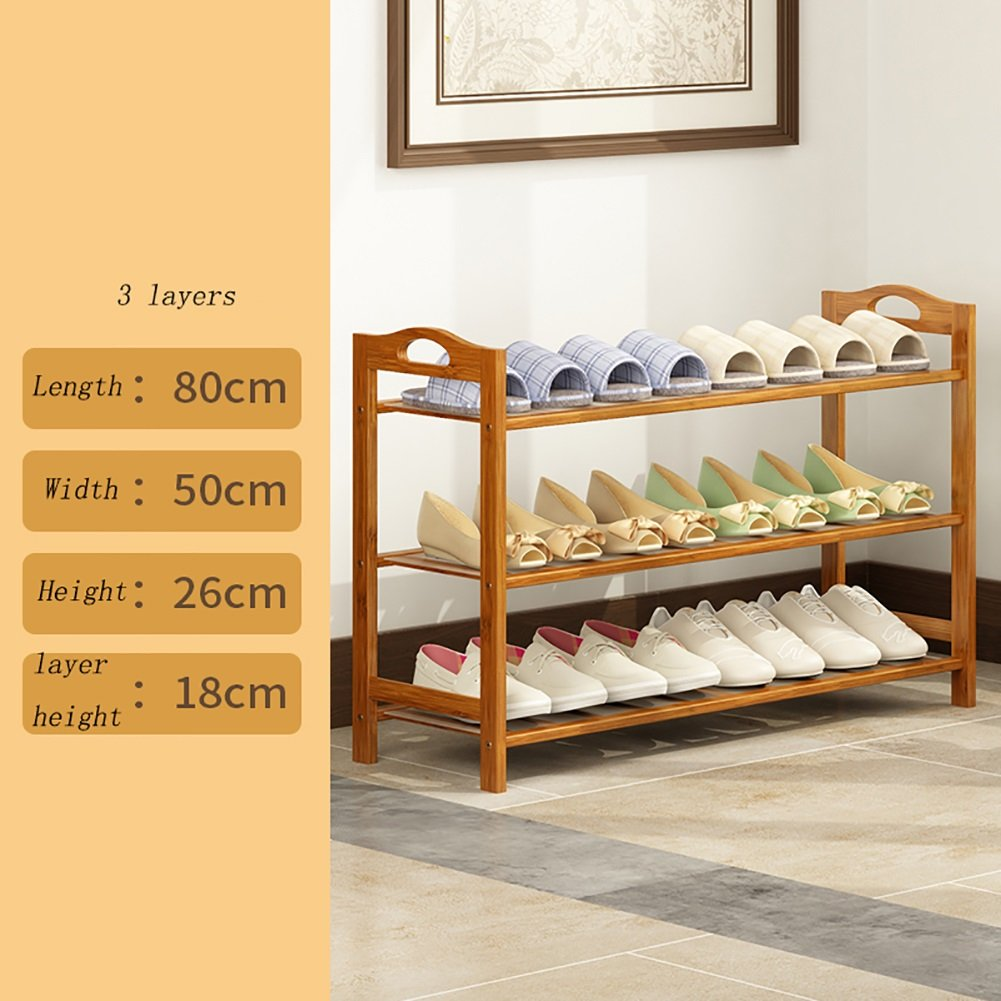Shoes rack 3 Layers Bamboo Hotel Bedroom Balcony Simple Dust-proof Storage Shoebox (Size : 80cm-length)