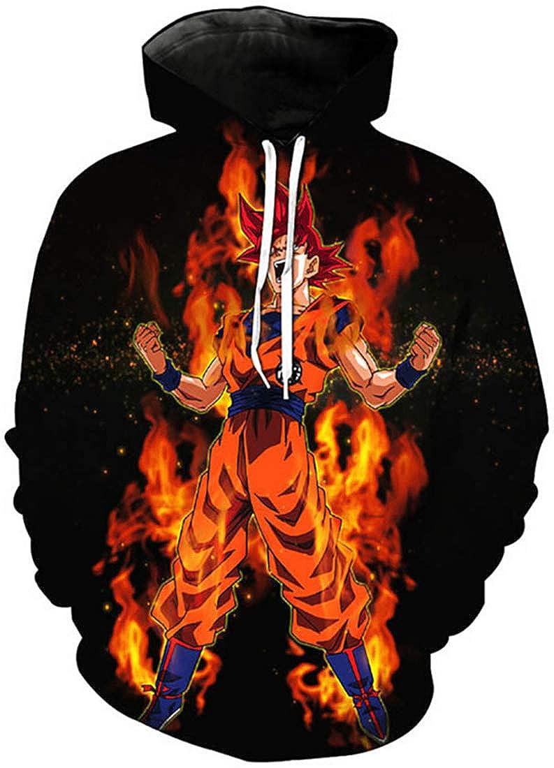 Bettydom Teens Novelty Hoodies Sweatshirt 3D Printed Japanese Anime Pullover with Dragon Ball for Boys Girls