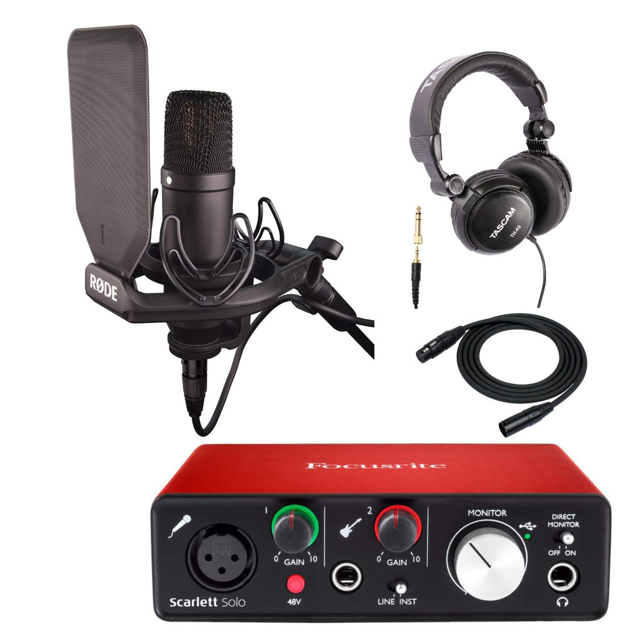 Rode NT1 Kit Condenser Microphone Cardioid with Scarlett Solo Interface, Headphones and XLR Cable
