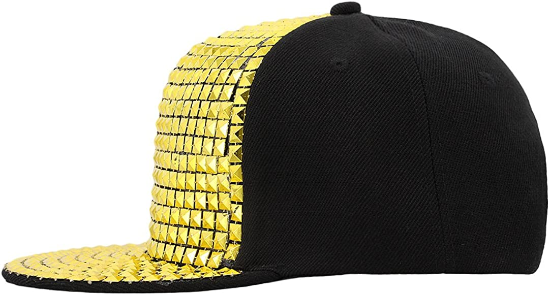 La moriposa Unisex Kid Shiny Sequin Reflective Baseball Snapback Cap Hip-Hop Hat