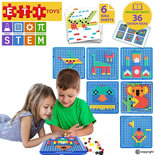 (ETI Toys | STEM Learning | 505 Piece Mosaic Puzzle; Build Cat, House, Alligator, and More! 100% Non-Toxic, Fun, Creative Skills Development! Best Gift, Toy for 3, 4, 5 Year Old Boys and Girls.)