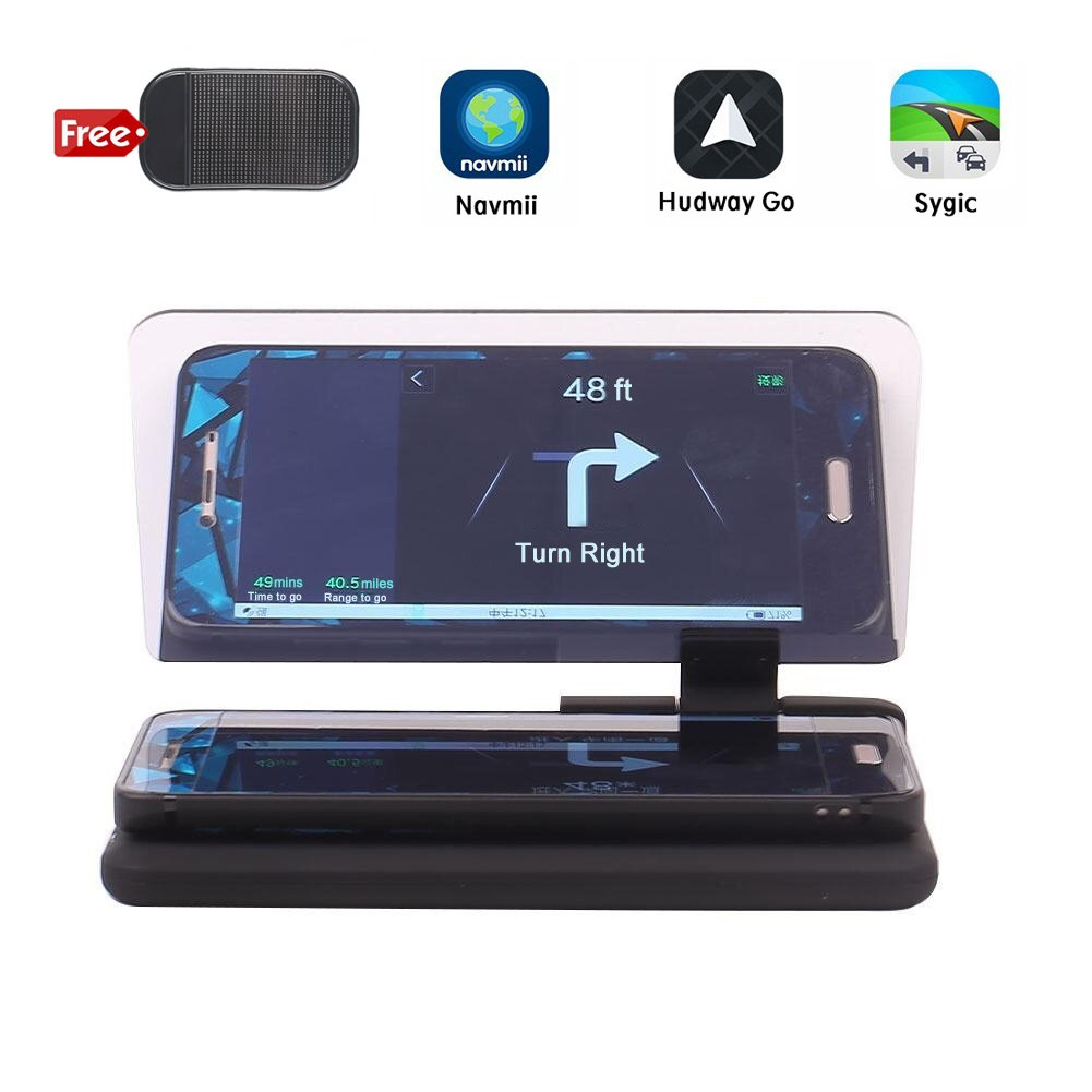 Car GPS Navigation HUD Holder, Bysameyee Vehicle Head-up Display Image Reflector 6 inch Phone Mount for iPhone Android Phones Samsung LG