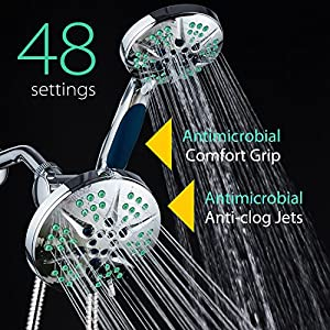 NOTILUS Antimicrobial High-Pressure Luxury 3-in-1 Rain Shower Spa Combo - 48 settings, 2-zone Antimicrobial Anti-Clog Nozzles, Antimicrobial Anti-Slip Grip, Stainless Steel Hose / All-Chrome Finish