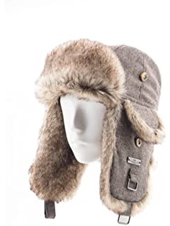 79f00ed375a87 FUR WINTER Wool Blend Herringbone Tweed Faux Fur Aviator Outdoor Trapper  Trooper Pilot Ski Hat
