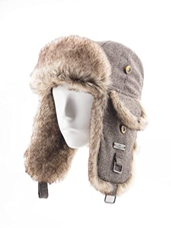 9f1e754f494 FUR WINTER Wool Blend Herringbone Tweed Faux Fur Aviator Outdoor Trapper  Trooper Pilot Ski Hat at Amazon Men s Clothing store