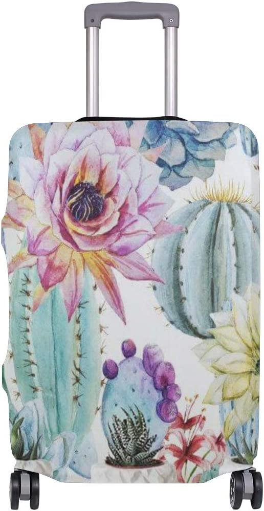 Cute 3D Cactus Watercolor Pattern Luggage Protector Travel Luggage Cover Trolley Case Protective Cover Fits 18-32 Inch