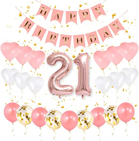 21ST BIRTHDAY PARTY 3 FOOT HANGING DECORATIONS PINK WHIRLS 21