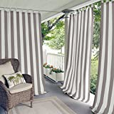 gazebo curtains with velcro Elrene Home Fashions Indoor/Outdoor Cabana Stripe Tab Top Single Panel Window Curtain Drape, 50