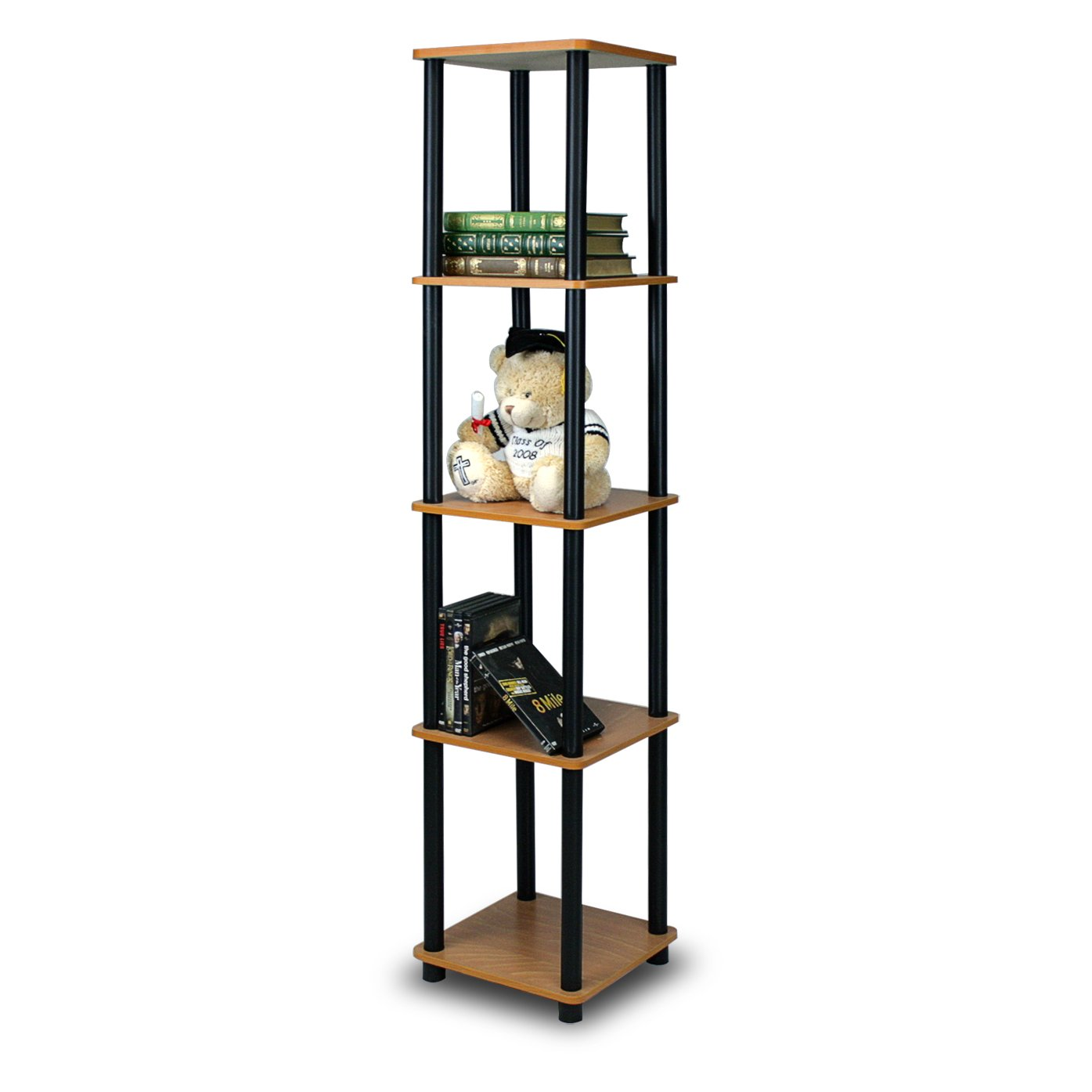 Amazon Furinno 99132LC BK Turn N Tube 5 Tier Corner Square Rack Display Shelf Light Cherry Black Kitchen Dining