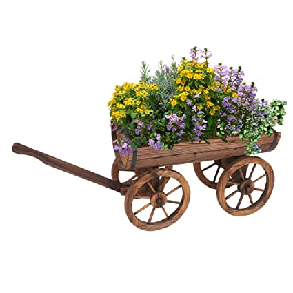 Amazon Com Wood Wagon Flower Planter Pot Stand Barrel Wagon