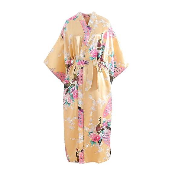 DEELIN Mujeres Manga Corta Sexy Impresión Encaje Trim Kimono Bata De Baño Vestido De Vestir Lencería de Nochetir