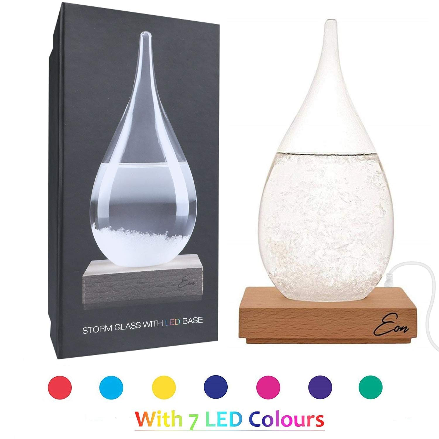 Eon Concepts Storm Glass Weather Predictor - Barometer Bottle with Stunning & Colorful LED Wood Base | Decorative Centerpiece for Home & Office | Perfect Birthday Friendship Novelty Unique Gift Idea