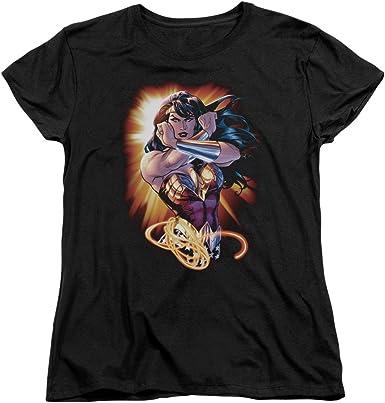 LADY FIT GREEN LANTERN black cotton woman/'s top small logo t-shirt M