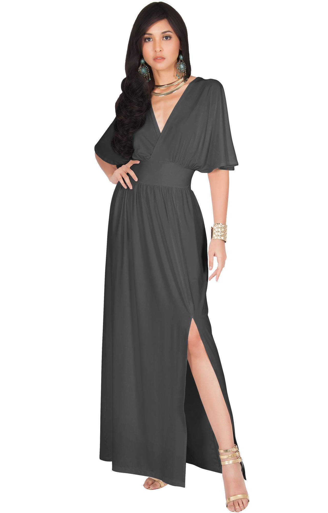 ca5386ed282 KOH KOH Plus Size Womens Long Sexy Kimono Short Sleeve Slit Split V-Neck  Party Cocktail Evening Bridesmaid Wedding Guest Sun Gown Gowns Maxi Dress  Dresses ...