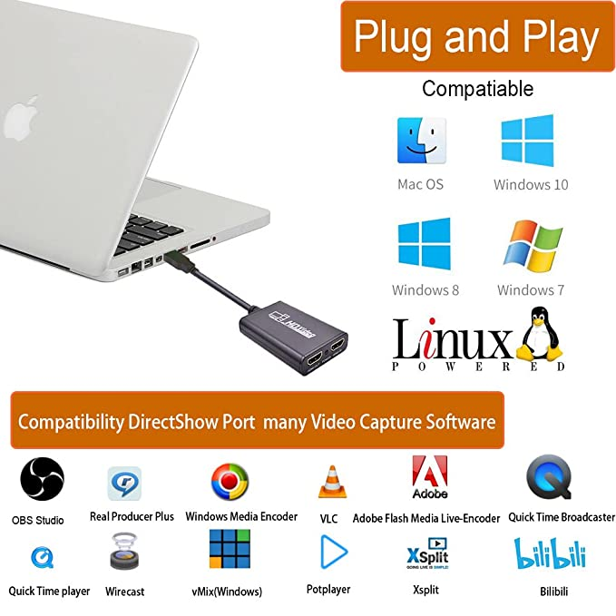 Microware USB 3 0 to HDMI HD 1080P Recording, Live Streaming Game Capture  Device for PS4 Xbox One 360, OBS Camcorder
