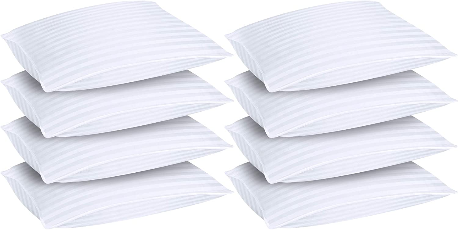 Utopia Bedding Hotel Collection Premium Plush Cotton Blend Bed Pillows for Sleeping - 20 x 28 Inches (Bulk Pack of 8, Queen)