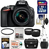 Nikon D5600 Digital SLR Camera & 18-55mm VR DX AF-P Lens with 32GB Card + Case + Tripod + Tele/Wide Lens Kit (Certified Refurbished)
