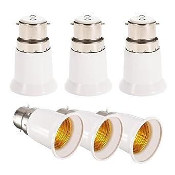 Newkeen 6pcs Adaptador convertidor de bombilla B22 to E27, apto para bombillas LED y lámpara