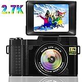 デジカメ デジタルカメラ 2.7K 2400万画素 フラッシュライト付き 180度回転スクリーン 3インチスクリーン ビデオカメラ カムコーダー ビデオブログカメラ
