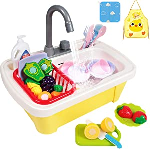 GobiDex 29PCS Color Changing Play Kitchen Sink Toys for Toddlers with Cutting Play Foods,Kids Kitchen Dishwasher Toys with Running Water Auto-Cycle Pretend Role Play Kitchen Sink Toys for Boys Girls