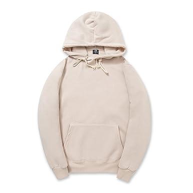 CORIRESHA Simple Style Soft Cotton Plain Color Hoodie Long Sleeve  Drawstring Hooded Sweatshirt 602b1fd547bd