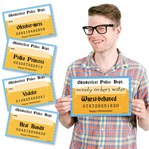 Big Dot of Happiness Oktoberfest - German Beer Festival Mug Shots - Photo Booth Props Mugshot Signs - 20 Count -