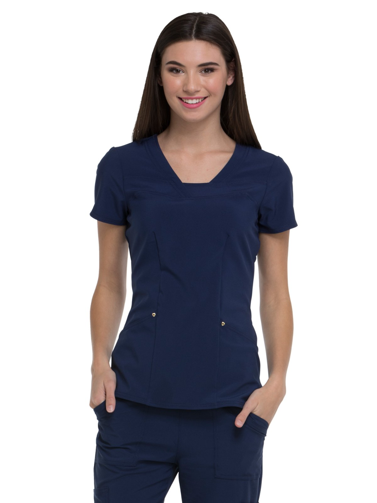 HeartSoul Love Always by Women's V-Neck Solid Scrub Top Large Navy
