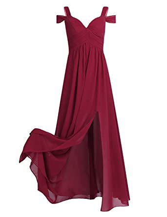 TiaoBug Women Chiffon High-Waisted Long Bridesmaid Wedding Evening Prom Dress Gown Burgundy 4