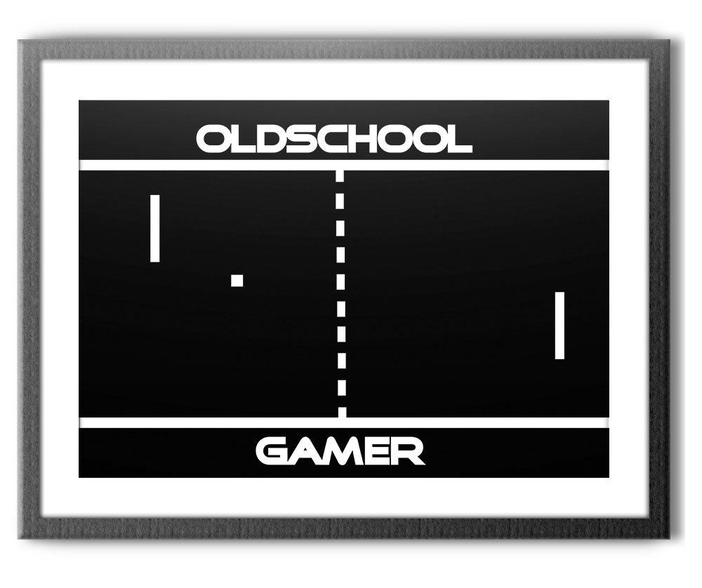 HAPPY FREAKS Poster 'Pong' DIN A2 - Gamer-Wandbild Modern Motivation - Plakat ohne Rahmen - Bilder und Dekoration avandoo