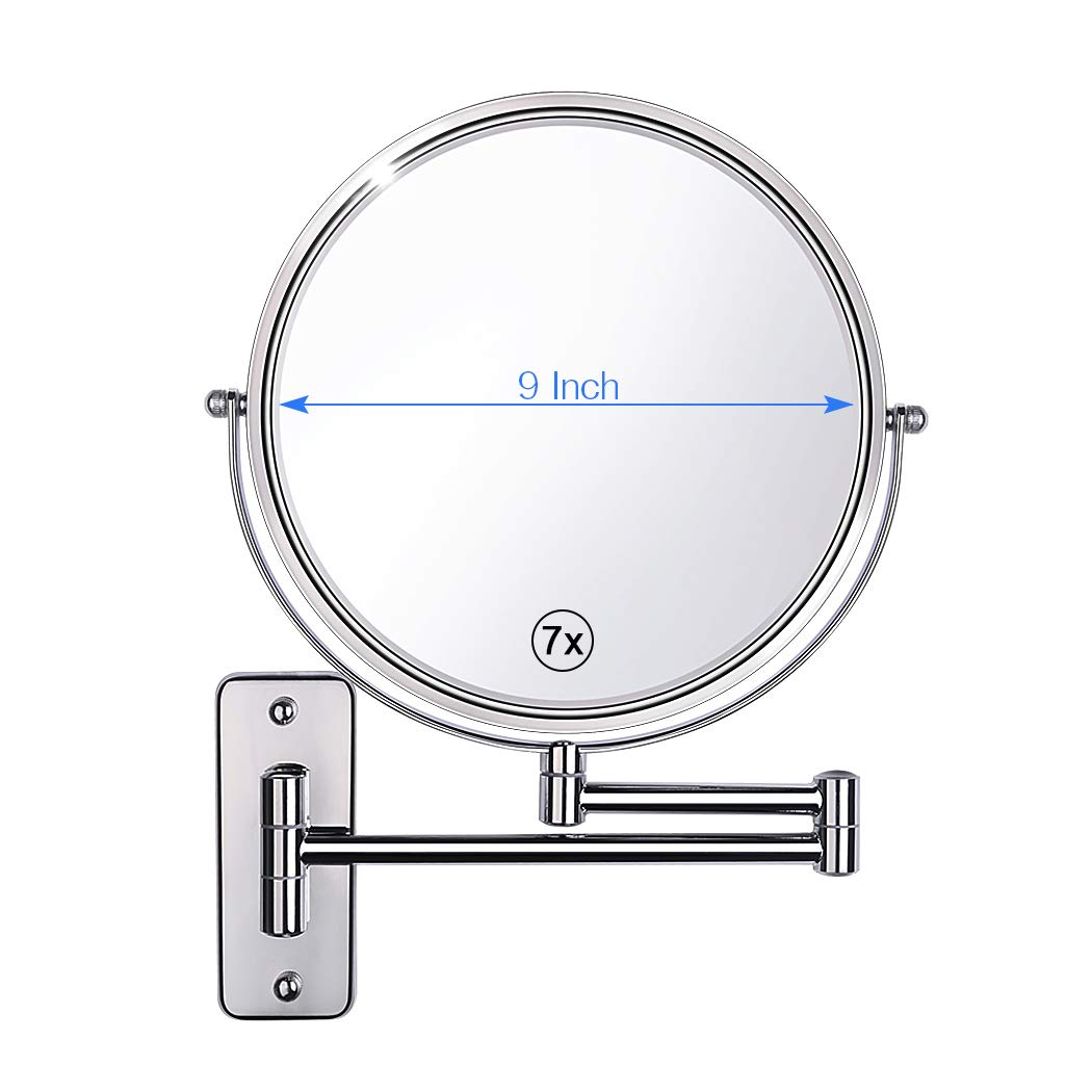 Gospire Upgraded 9-Inch Enlarged Wall Mount Makeup Mirror with 7X Magnification Double-Sided Swivel Mirror,Polished Chrome Finished
