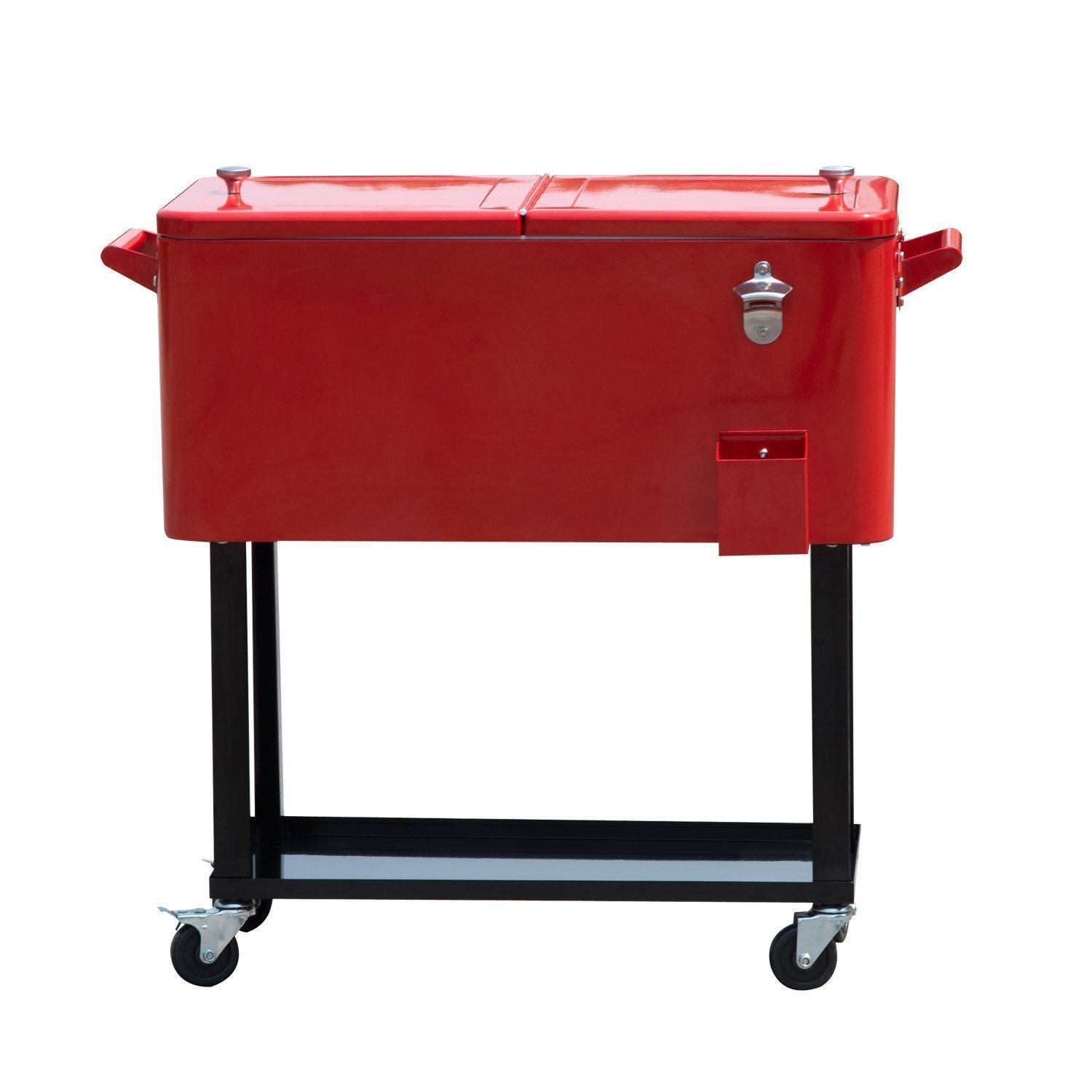 Tenive 80-quart Retro Cooler Patio Rolling Matel Cooler Steel Ice Chest Portable Patio Party Bar Drink Entertaining Outdoor Cooler Cart - Red