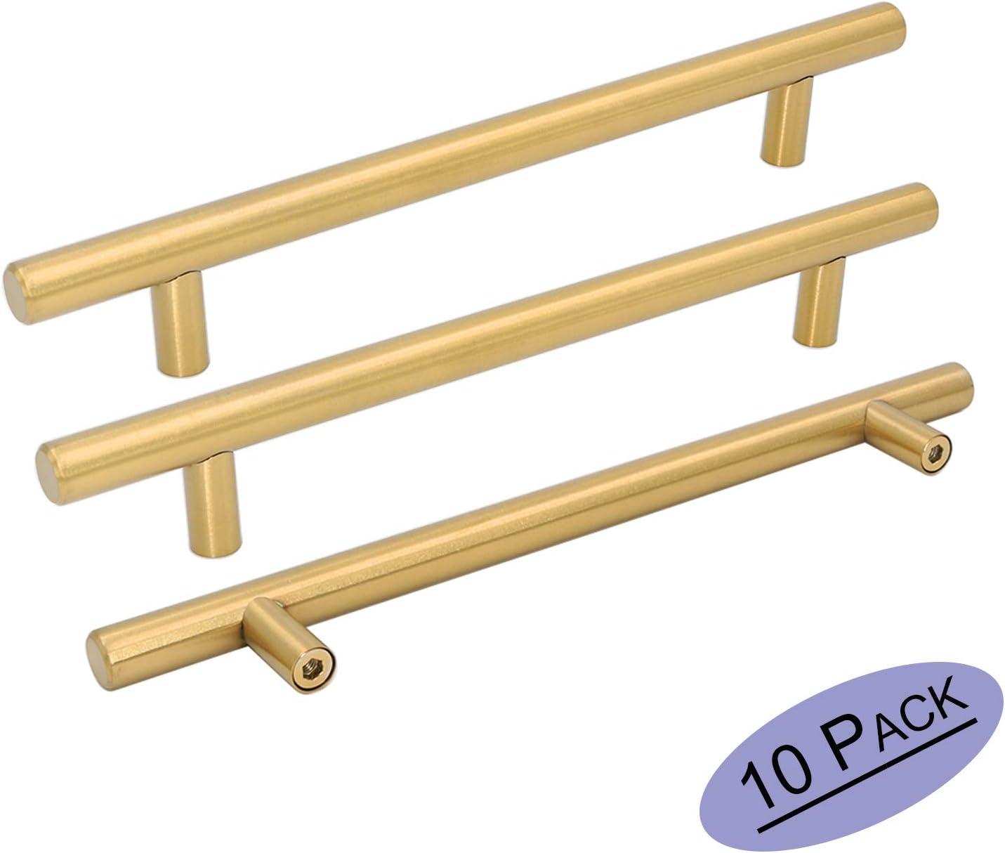 10 piezas Goldenwarm de acero inoxidable dorado y moderno para puerta de cocina armario de cocina manillar de barra para tirar pomo de lat/ón cepillado