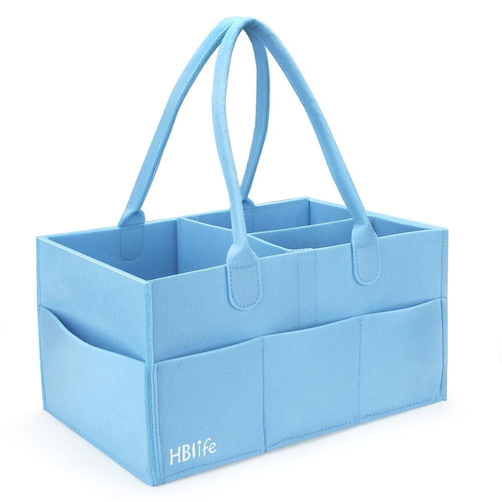 HBlife Nursery almacenamiento bin cesta de fieltro bolsa de organizador de pañales toallitas para bebé Azul: Amazon.es: Bebé