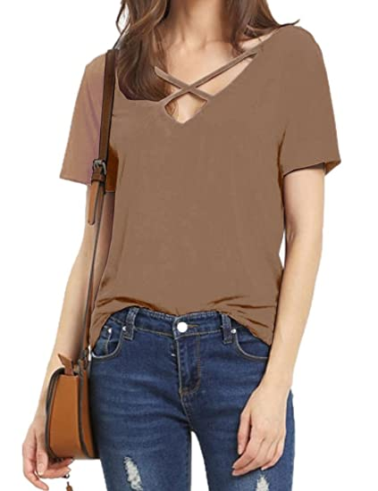 a5ec04a129be0 Allegrace Women Summer Sexy Criss Cross Short Sleeve Open Back T Shirt  Casual Tops Coffee S