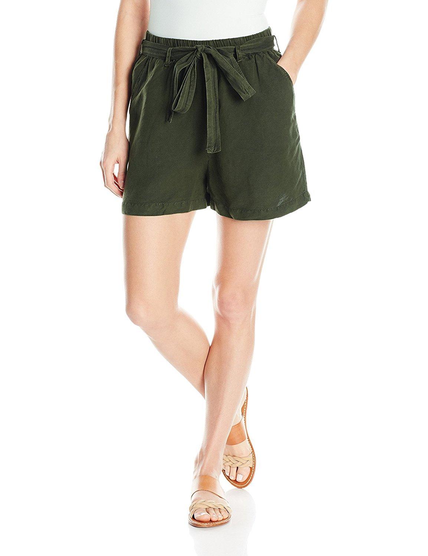 Lucky Brand Women's Tie Front Linen Short, Deep Depths, X-Large