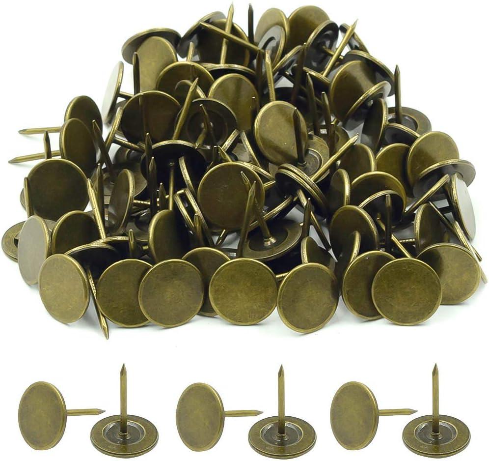ZXHAO Round Flat Head Upholstery Nail Furniture Push Pins Green Bronze 16x20mm 100pcs