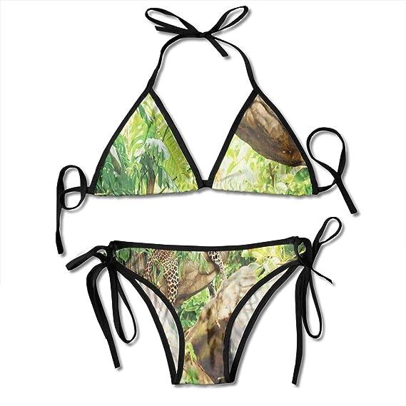 a1117e091e TYANG Women's Tie Side Bottom Padding Triangle Bikini Swimsuits, Leopard On The Branch