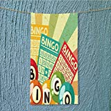 SeptSonne sports towel Bingo Game with Ball and Cards Pop Art Stylized Lottery Hobby Celebration Theme Fast Drying, Antibacterial W35.4 x H11.8 INCH