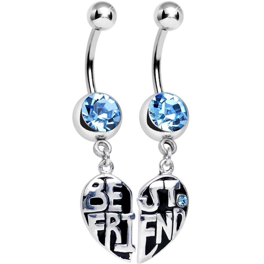 Body Candy Brilliant Blue Best Friend in Harmony Heart Dangle Belly Ring Set