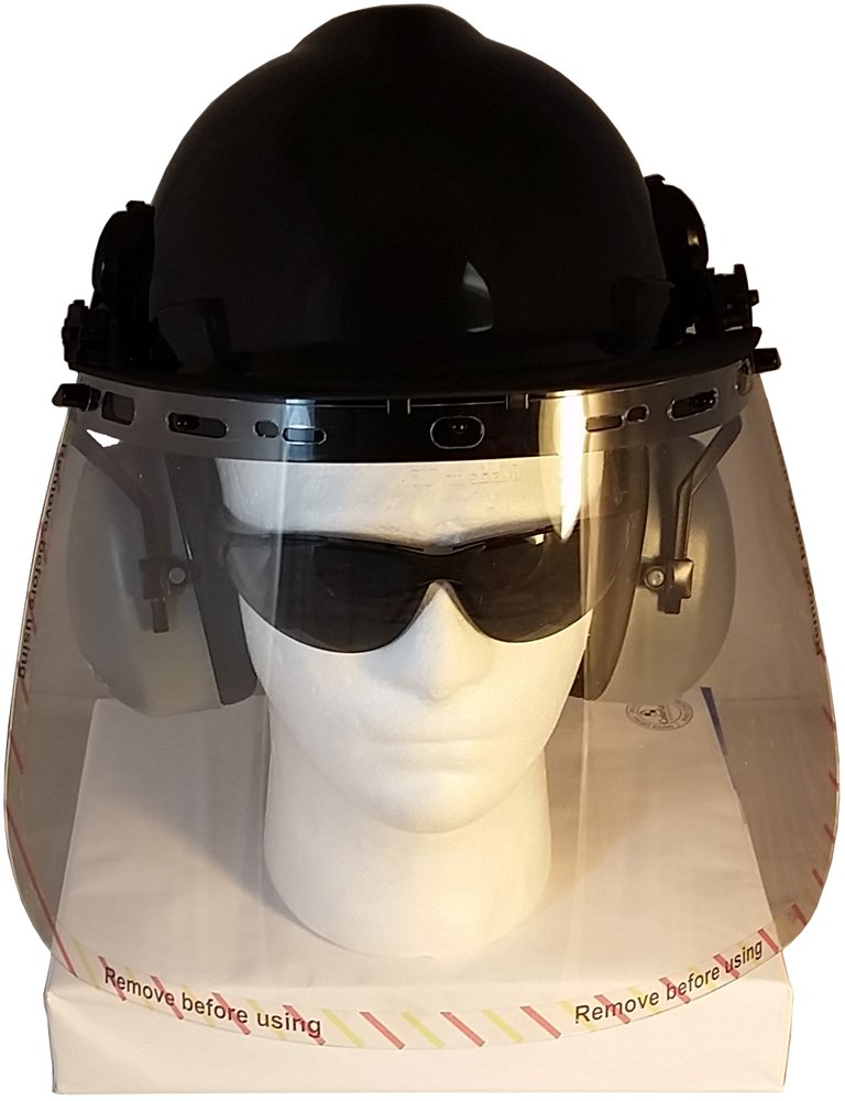 MSA V-Gard Cap Style Hard Hat Kit w/Faceshield Attachment, Earmuffs, and Clear Faceshield - Black Color Shell by Texas America Safety Company