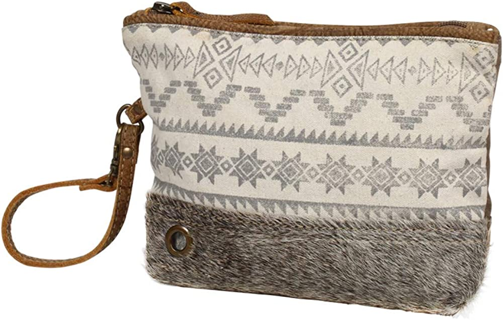 Myra Bag Foxy Tribe Upcycled Canvas Wristet Pouch Bag S-1240