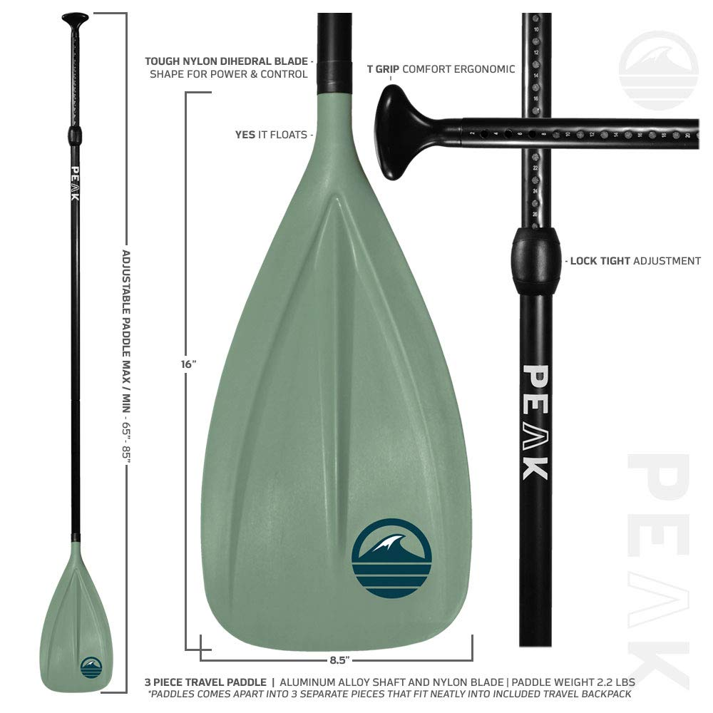 Peak All Around Inflatable Stand Up Paddle Board Package | 10'6'' Long x 32'' Wide x 6'' Thick | Durable and Lightweight SUP | Stable Wide Stance | Moss by PEAK Paddle Boards (Image #7)