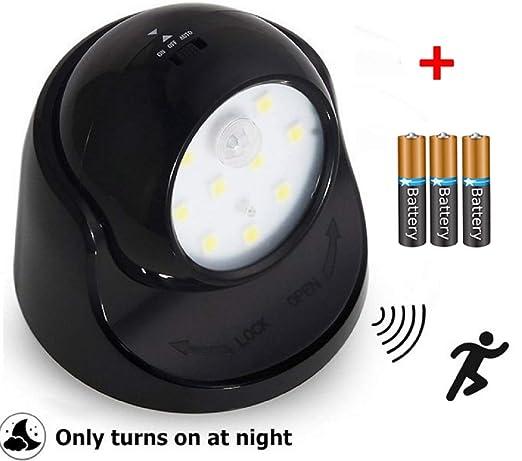Luz de seguridad a pilas con sensor PIR y detector de movimiento, giratorio 360°
