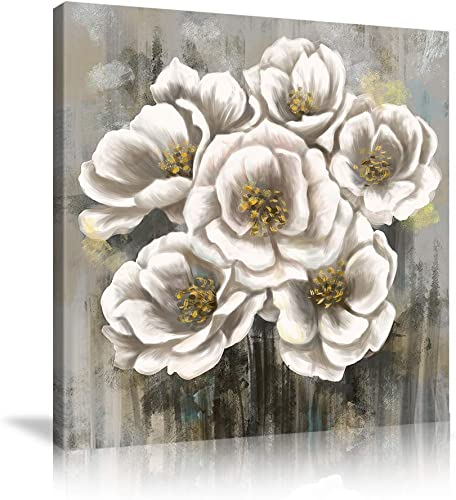 VIIVEI Abstract White Floral Flowers Wall Art Poster Canvas Room Decorations Gray Floral Wall Decor Artwork Painting